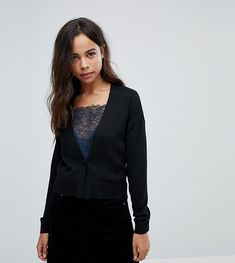 ASOS PETITE Cardigan In Fine Knit With One Button - Black