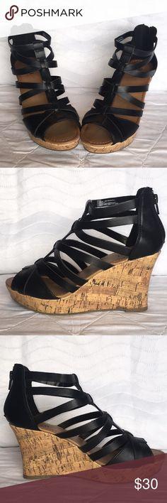 1a94abc7b NWOT Womens Black Wedge Sandals by a.n.a Size 7.5M NWOT OR BOX Women s  Black Wedge