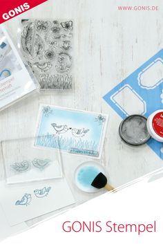 Liebevolle und von Hand gezeichnete Stempelmotive. Die transparenten Silikonstempel von GONIS begeistern! Diy And Crafts, Drawing Hands, Stamping, Card Crafts