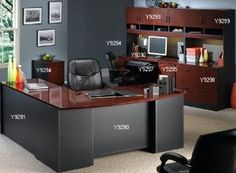 Via Modular Office Desk Collection - Bow Front Desk Shell - Via offers durability and affordability for the home or small business. Office desks and matching accessories a. Law Office Decor, Home Office Layouts, Office Ideas, Attic Office, Office Set, Small Home Office Furniture, Home Office Desks, Office Spaces, Furniture Decor