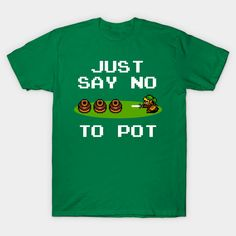 Link from Nintendo's Legend of Zelda reminds you of the proper attitude toward pots in this 8-bit art – buy this funny T-shirt for your favorite classic video gamer geek (even if that's you)