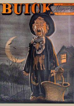 Buick Magazine October 1946 Vol. 8 No. 4 General Motors Great Halloween Art Cover!