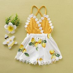 Toddler Kids Baby Girl Tassel Backless Lace Patchwork Lemon Printed Fashion Romper Clothes Sunsuit Outfits 2019 New - Blackfriday Baby Girl Romper, Baby Girl Dresses, Baby Girl Newborn, Baby Dress, Baby Girl Jumpsuit, Baby Onesie, Kids Outfits Girls, Baby Boy Outfits, Cute Outfits