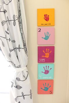Yearly handprint canvases!!! Love this idea for the twinners!!!