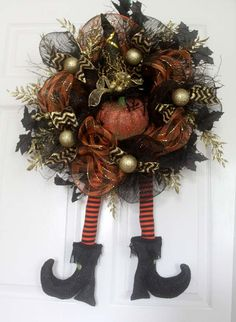 Halloween witch's legs wreath, Black and Gold Chevron,Halloween wreath, Witch wreath, Fall wreath, Halloween door hanger, hats boots wreath by Leopard on Etsy