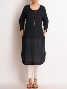 Buy Black Embroidered Pocket Detailed Hand Woven Khadi Kurta SALE! Treasure Hunt Printed