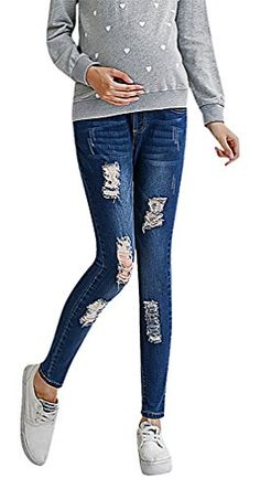 Hibukk Womens Casual Dark Distressed Denim Elastic Waist Maternity Jeans Blue 4 ManufacturerM * Visit the image link more details. (This is an affiliate link and I receive a commission for the sales)