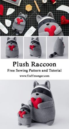 Free Raccoon Sewing Pattern and Tutorial by Fluffmonger — Stuffed Raccoon Sewing Pattern, DIY Raccoon, DIY Gifts, Handmade Gift Ideas, Cute Sewing Pattern, Sewing for Kids