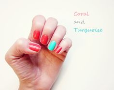 coral and turquoise nails, but a yellow ribbon included on the ring finger.