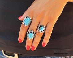 Love these Big Bold Statement Turquoise rings!!! -TINYBOX12 on Etsy. / So very beautiful EL.
