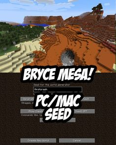Spawn in a beautiful Bryce mesa biome. Minecraft Seed:firstcrash (PC/Mac) - Minecraft World Minecraft Plans, How To Play Minecraft, Minecraft Projects, Minecraft Designs, Minecraft Houses, Minecraft Stuff, Mcpe Seeds, Cool Minecraft Seeds, World Generator