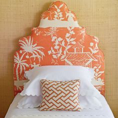 I love this bedroom from Coastal Living - orange, grasscloth walls, crisp white linens, a padded headboard, and best of all - pagoda fabric. Interior Exterior, Home Interior Design, Interior Ideas, Girls Bedroom, Bedroom Decor, Guest Bedrooms, Master Bedroom, Bedroom Ideas, Beach Bedrooms