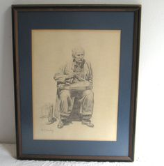 Original Pencil Drawing  / Vintage Pencil Drawing by M. J. Deeley by vintagous on Etsy