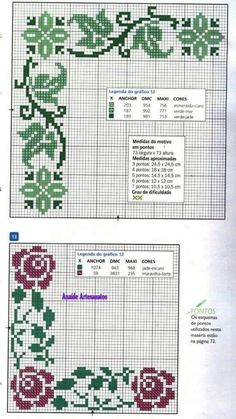 This Pin was discovered by Ber Cross Stitch Borders, Cross Stitch Flowers, Cross Stitch Designs, Cross Stitching, Cross Stitch Embroidery, Cross Stitch Patterns, Pixel Pattern, Knitting Charts, Hand Embroidery Patterns