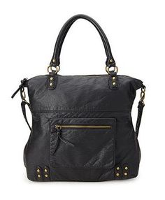 Textured Faux Leather Carryall