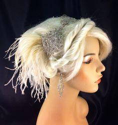 Wedding Headband, Wedding Hair Accessory , Bridal Hair Accessory, Rhinestone Headband, Hollywood Royalty, Champagne. $85.00, via Etsy.