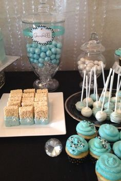 Breakfast at Tiffany's Bridal Shower   Love this blue dessert buffet!