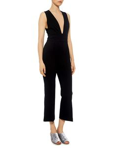 Tibi: Open Back Tailored Ponte Crop Flared Jumpsuit (item view - 3)