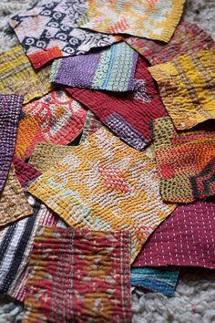"""Kantha fait à la main indien Vintage Scraps jette, couvre-lit Patchwork fournitures courtepointe coton 450 grammes, 5 """"x 10"""""""