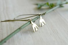 Small Brass Bird Dangle Earrings Long Dangle Earrings by raelwear, $16.95