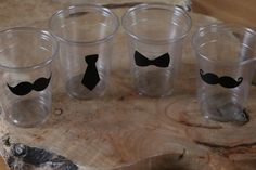 24 10 oz. 12 oz. or 16 oz. clear cup with  mustaches, tie, & Bow Ties. Baby Shower, Mustache bash, little man, birthday party.  Vinyl B-138 on Etsy, $6.25