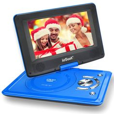 "[Improved Battery] ieGeek 12.5"" Portable DVD Player with 360° Swivel Screen, 5 Hour Rechargeable Battery, Supports SD Card and USB, Direct Play in Formats MP4/AVI/RMVB/MP3/JPEG, Blue"