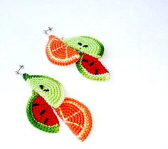 Tropical Dangly earrings studs  orange by MiracleFromThreads, $34.00