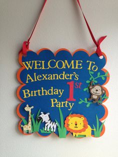 Safari- Jungle-Zoo Themed Door Sign GREAT for Baby Shower Or Birthday Parties, Welcome Signs, First Birhday Wall Sign. $11.00, via Etsy.
