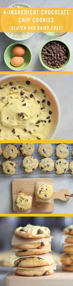 Gluten and dairy free Chocolate Chip Cookies All you need is yellow cake mix, vegetable oil, 2 eggs, and chocolate chips. Weight Watcher Desserts, Gluten Free Sweets, Gluten And Dairy Free Desserts Easy, Dairy Free Kids Meals, Dairy Free Cakes, Easy Gluten Free Cookies, Gluten And Diary Free Recipes, Gluten Dairy Free, Gluten Free Baking Recipes