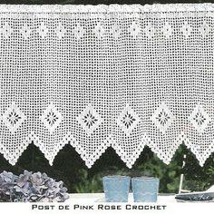 \ PINK ROSE CROCHET /: Barrado de Crochê com Losangos para Cortina Bistrô