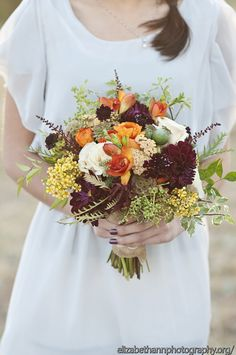 Dahlias, ranunculus, natural feel wedding bouquet :: Twigs and Posies :: Photo by Elizabeth Ann Photography