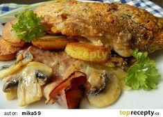 Kapr pečený na slanině a žampionech recept - TopRecepty.cz Pork, Meat, Kale Stir Fry, Pork Chops