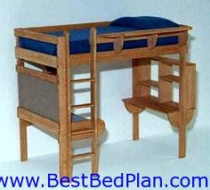 Woodworking Bed Plans, Loft Bed Plans, Bunk Platform Murphy Bed Plans