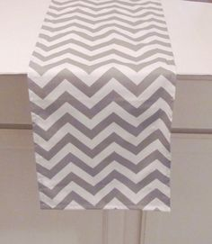 Grey Table Runner Grey  Chevron Zigzag Table by AnyarwotDesigns