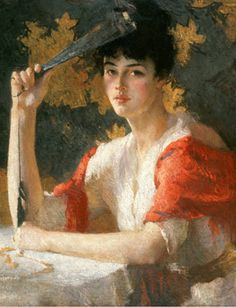 Frank Weston Benson (American, 1862-1951), Red and Gold, 1915 (detail),