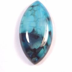 38.93Ct 39x20x7mm Blue Dragon Vein Agate Marquise Cabochon for Wire Wrapping #Unbranded