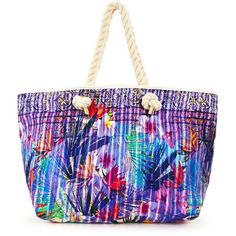 V By Very Tropical Floral Print Beach Bag ($20) ❤ liked on Polyvore featuring bags, handbags, summer handbags, holiday bags, evening bags, summer bags and summer purses