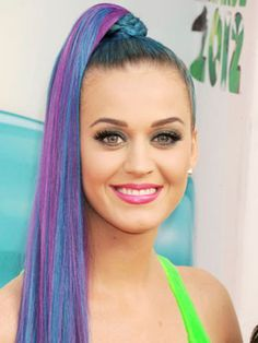 Famous Singer and Songwriter Katy Perry with her Jem And The Holograms-Inspired Pony Sexy Hairdo.