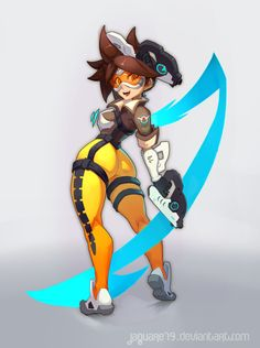 ArtStation - Overwatch - Tracer, Abel Castillo Castells Overwatch Tracer, Overwatch Drawings, Anime Girl Hot, Anime Art Girl, Cartoon Drawings, Cartoon Art, Danse Twerk, Skullgirls, Black Artwork