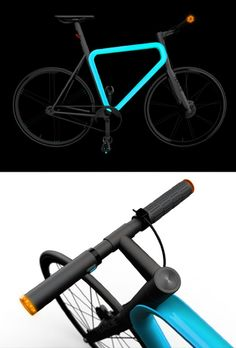 Urban Bike  ! Pulse, Teague's concept for an urban bike, addresses all the necessities of a standard bike commute. Taking cues from both fixed gears and cafe-racers, Its features include electric turn signals controlled from the handlebars and a luminescent frame that lights up when you need it.