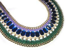 blue green necklace, Blue statement necklace, Bib necklace, wide Rhinestone necklace, Trend Bold necklace