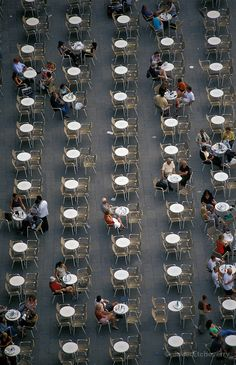 Cafeteria in Piazza San Marco as viwed from Campanile, Venezia, Italy