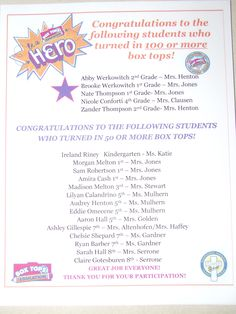 5 students brought in over 100 box tops each for our raffle contest.  14 brought in 50+!  For a small school, WE ROCK!!