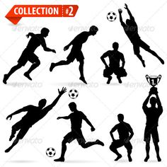 Silhouettes Football Players  #GraphicRiver         Set of Silhouettes of Soccer Players in various Poses with the Ball     Created: 24October12 GraphicsFilesIncluded: JPGImage #VectorEPS Layered: Yes MinimumAdobeCSVersion: CS Tags: action #active #ball #champ #championship #collect #collection #competition #cup #dribble #football #footballer #goal #goalkeeper #icon #isolated #label #male #man #people #player #run #set #silhouette #soccer #sport #train #vector #victory #win