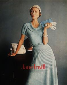 Evelyn Tripp for Jane Irwill Knit Fashions - 1958. Pale blue knit sweater dress belt short sleeves vintage fashion style print ad model magazine