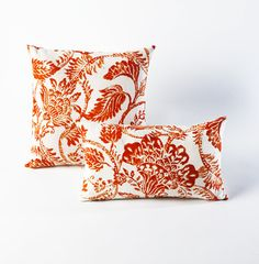 $39.99 Jacobean Print Pillow - This exquisite Jacobean floral graphic pillow adds an element of ladylike chic to any upholstery with a bright blend of orange and red – not to mention it's sunny season perfect. The design has a printed front and a natural canvas on the back that is great for indoor and covered outdoor use.