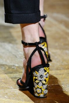 Dries Van Noten / Fall 2013. Embellished heel adds oomph to any shoe. I like that it livens up a basic black but also works well with the thin velvet straps.