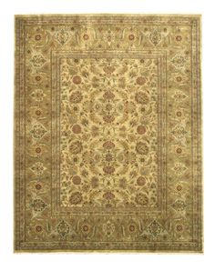 EORC Hand-knotted New Zealand Wool Gold Traditional Oriental New Zealand Tabriz Rug