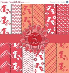 Red Sweet Cat - Red Digital Paper - Instant Download - Perfect For Scrapbooking, Paper Crafts and Background Supplies. Here are 12 high quality brown digital papers with gorgeous cats, flowers, dots,  lines, dotted chevron and dotted zigzags. They are JPG files, 12 x 12 inch (3600 x 3600 px), 300dpi