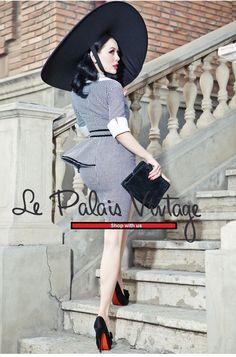 le palais vintage retro high-end houndstooth peplum slim dress (SIZES: S, M) #Handmade #WigglePencil